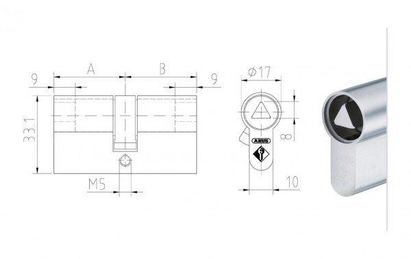 Maßzeichnung Doppelzylinder mit 8 mm Dreikant