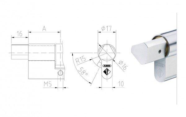 Maßzeichnung Halbzylinder mit Feuerwehr Dreikant