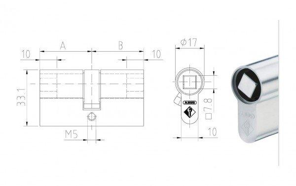 Maßzeichnung Doppelzylinder mit 8 mm Vierkant