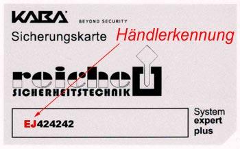 Händlerkennung auf Kaba Sicherungskarte