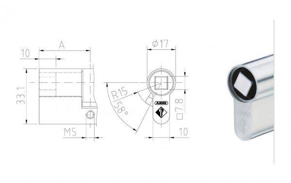 Halbzylinder mit 8 mm Vierkant Schließeinsatz