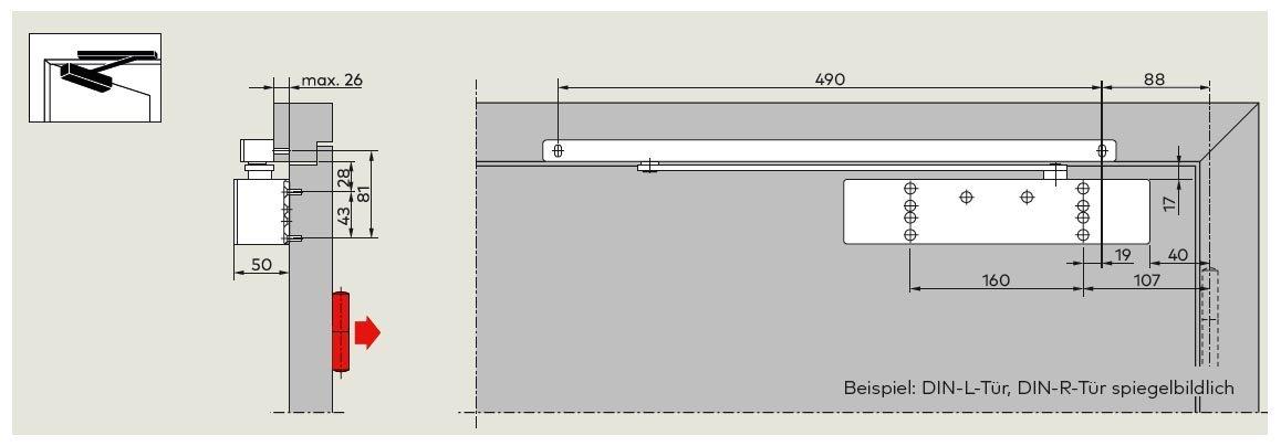 TS 92 XEA G Türblattmontage Bandgegenseite