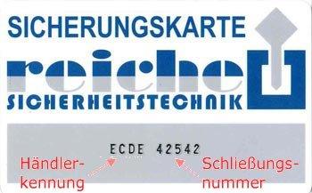 Sicherungskarte Winkhaus ECDE