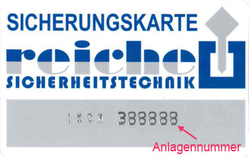 Schließungsnummer auf IKON Sicherungskarten