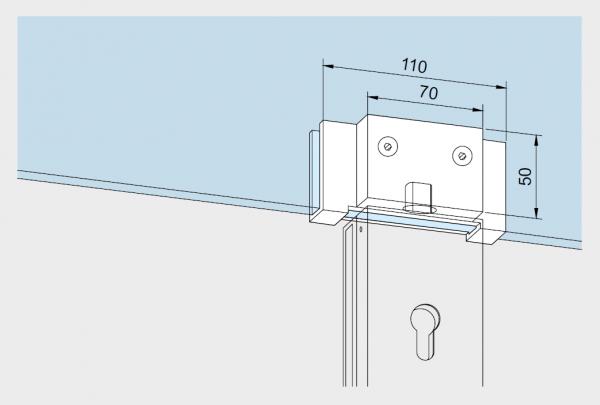 Maßzeichnung Überschub-Gegenkasten für Glastüren 05.112