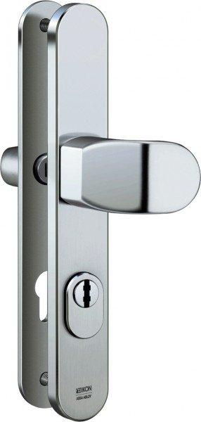 S638 Stahl-Schutzbeschlag mit Zylinderabdeckung Winkelknauf/Drücker