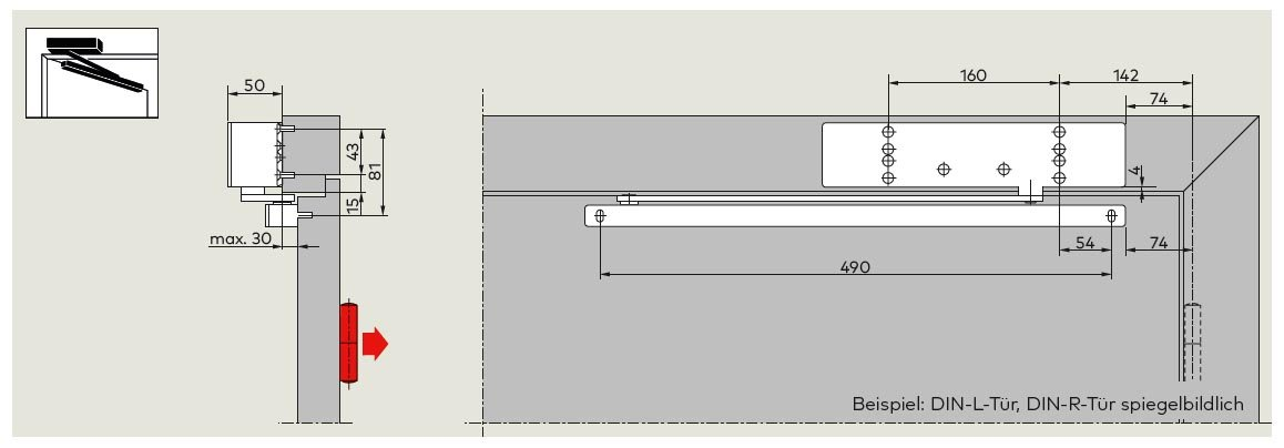 TS 92 XEA B Sturzmontage Bandgegenseite