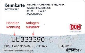 Händlerkennung auf DOM Sicherungskarte