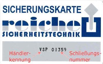 Sicherungskarte Winkhaus VSP