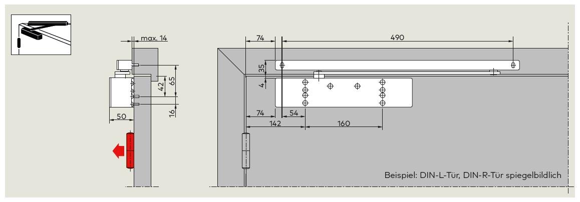 TS 92 XEA B Türblattmontage Bandseite