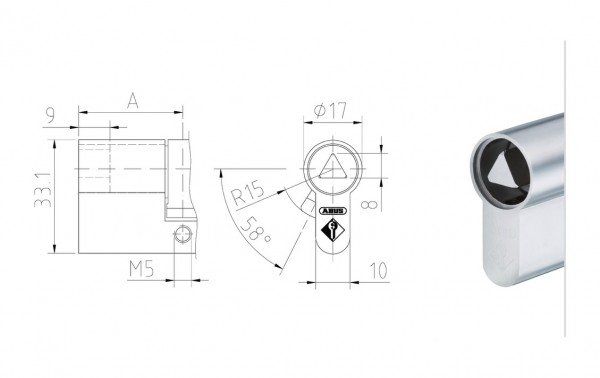 Maßzeichnung Halbzylinder mit 8 mm Dreikant