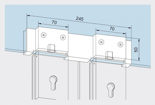 Maßzeichnung Überschub-Gegenkasten für 2-flügelige Glastüren 05.113