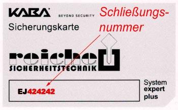 Schließungsnummer auf Kaba Sicherungskarten