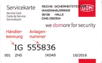 Sicherungskarte DOM IG Schließanlage