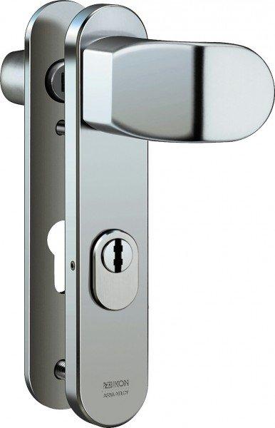 S6B8 Stahl-Schutzbeschlag mit Zylinderabdeckung Winkelknauf/Drücker