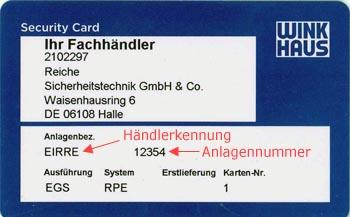 Händlerkennung auf Einkhaus Sicherungskarte